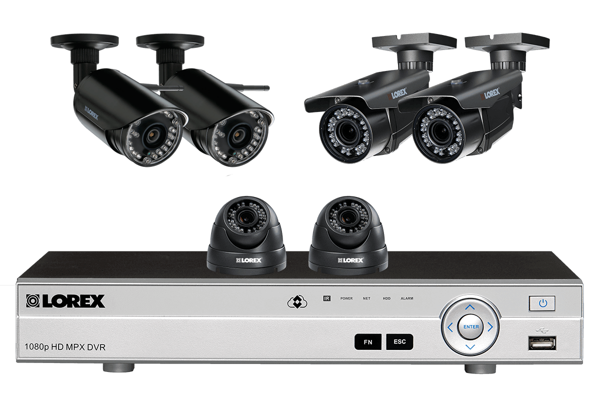 hight resolution of flexible security system with hd 1080p cameras 2 with zoom lenses and 2 wireless hd 720p cameras lorex