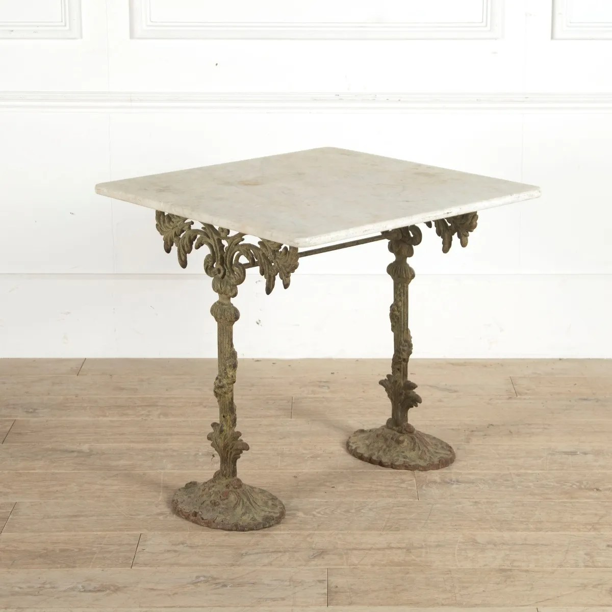 french 19th century cast iron table with marble top