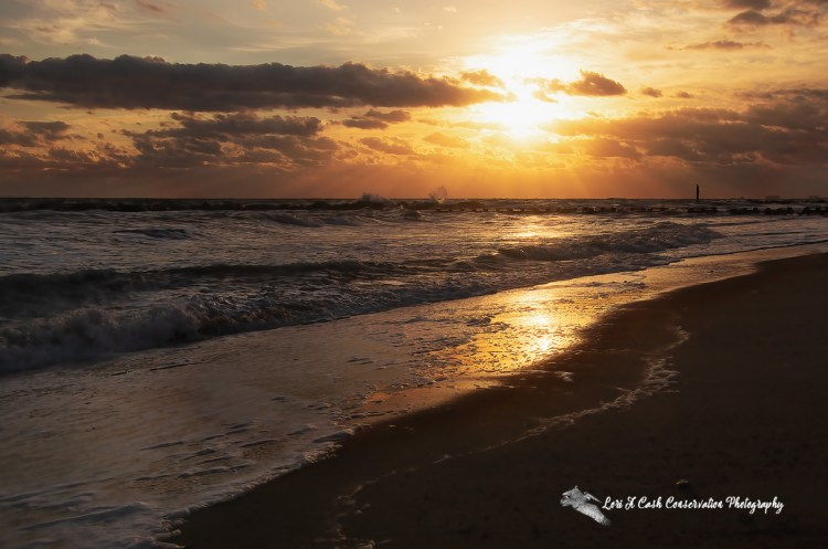Sunrise on a fall cloudy morning at Community Beach in the Ocean View area of Norfolk, Virginia,