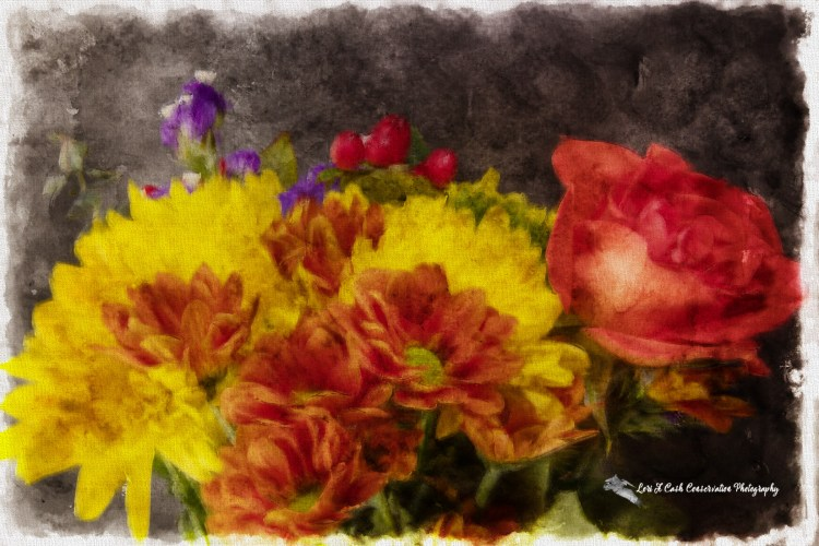 Bouquet of mixed flowers with an oil-pastel digital filter added to create digital art image.