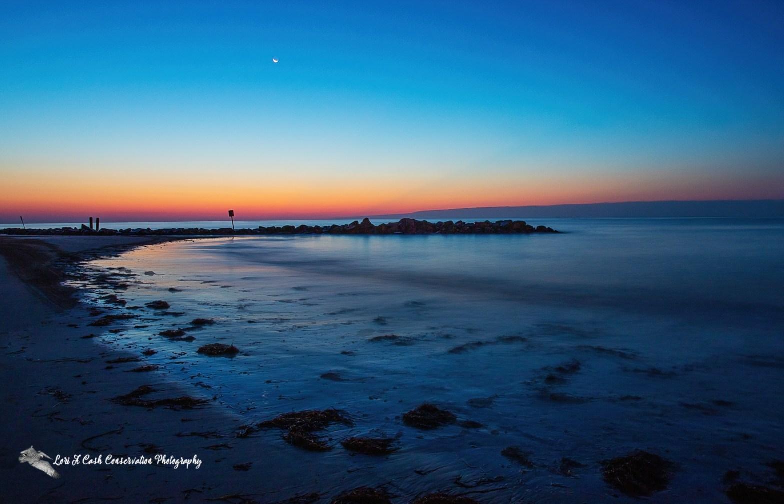 Crescent moon at twilight on a summer morning at Buckroe Beach in Hampton, Virginia.