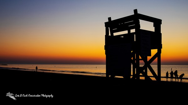 Silhouette of people at the beach with lifeguard station at sunrise on Buckroe Beach in Hampton, Virginia.
