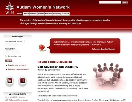 Autism Women's Network Website