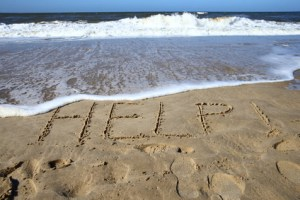 Message on the beach says HELP... anxiety treatment that doesn't make you sleepy.