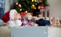 This baby sleeping in a box at Christmas is peaceful. But holidays with depressed family can be hard on everyone.