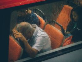 Ketamine can eradicate chronic pain like this man on the bus suffers from.