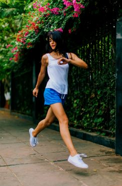Jogging like this lady can lift your outlook with fresh air and beauty and exercise reduces future depression episodes.