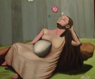 """""""Sueño"""" 18x24"""", oil on canvas, 2008. Based on photo by Lola Álvarez Bravo: El ensueño (Isabel Villaseñor), ca. 1941."""