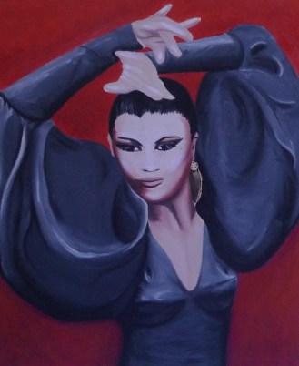 """""""Flamenco"""" (Portrait of La Tania), 18 x 24"""", oil on canvas, 2008."""