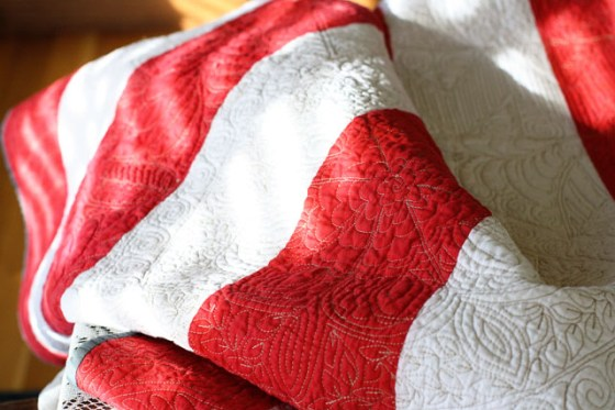 Free Motion Red/White Quilt