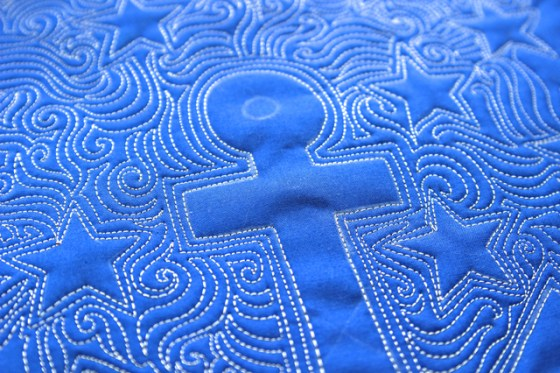 Anchor Quilt, Free motion quilting