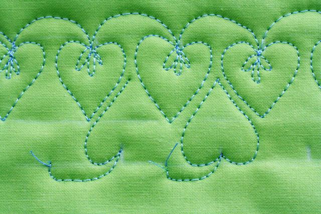 Free Motion Quilt Tutorial, Double Heart Leaf Vine