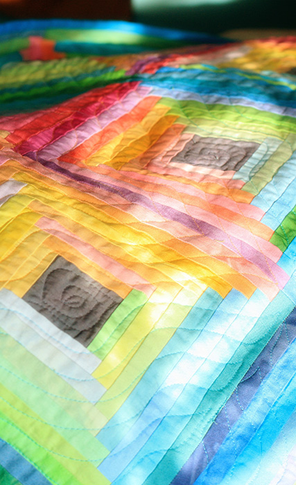 Log Cabin Quilt, Hand-dyed fabrics