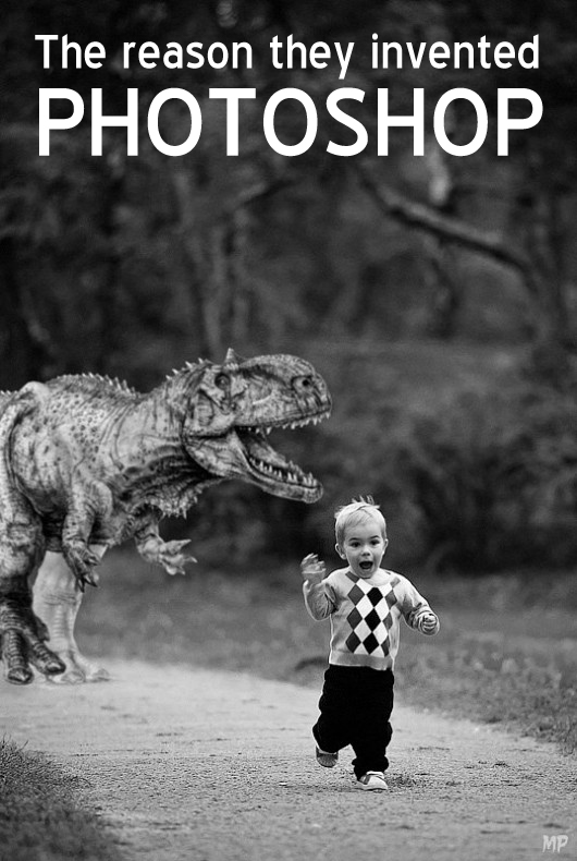Dinosaur and running boy