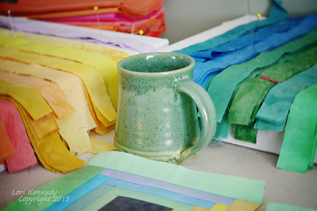 Coffee Mug and Quilt strips