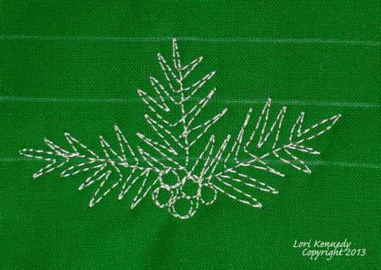Free Motion Quilt, Tutorial, Pine Bough