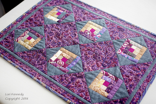 Mini Log Cabin Quilt, Purple