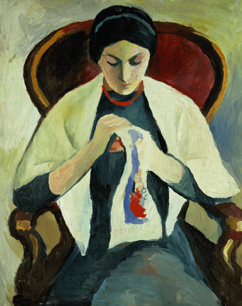 Auguste Macke, Woman Embroidering
