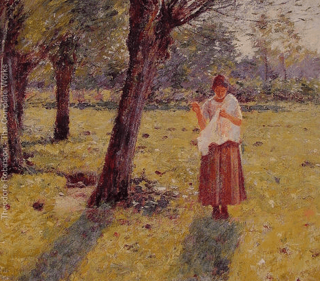 Girl Sewing, Theodore Robinson