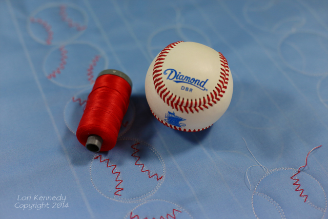 Free Motion Quilted Baseballs