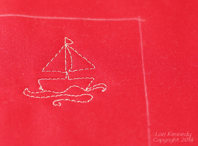 Sailboat, Free motion Quilting