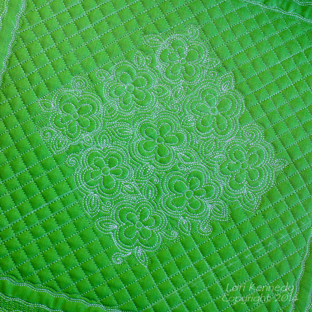 The Feathered Leaf, Free Motion Quilting