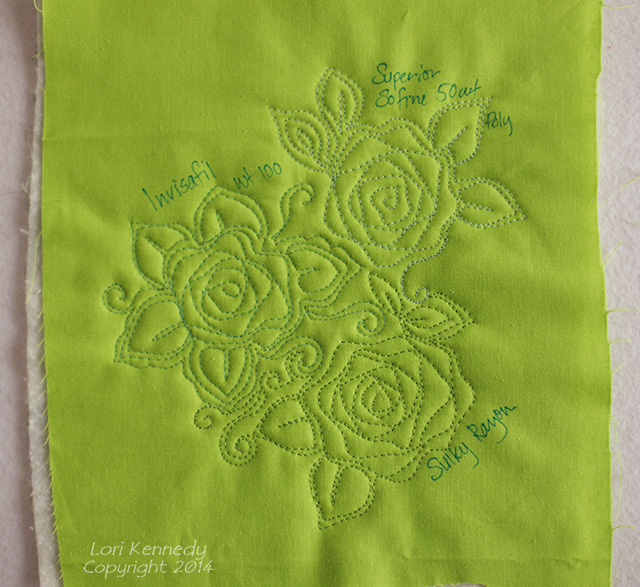 Nora's Rose Free Motion Quilting thread samples