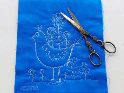 Free Motion Quilting, Bird and Flowers