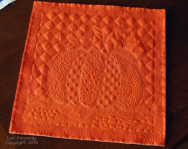 Free Motion Quilted pumpkin