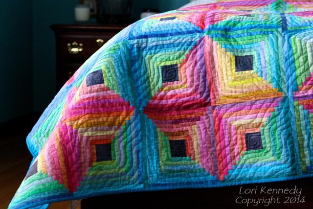 Hand Dye, Log Cabin Quilt