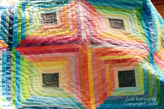 Log Cabin Quilt, Hand dyed fabrics
