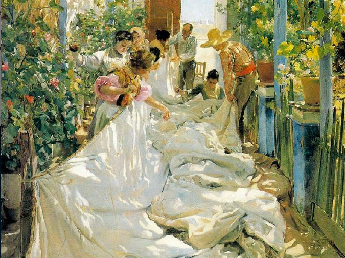 Sewing the Sail, Joaquin Sorolla