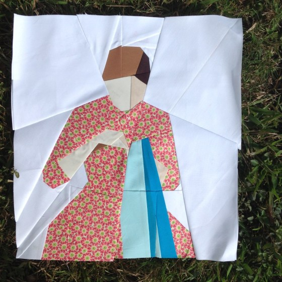 A Girl Sewing, Paper Pieced