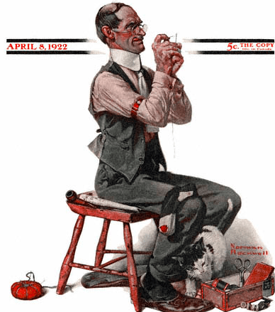 Man Threading a Needle, Norman Rockwell