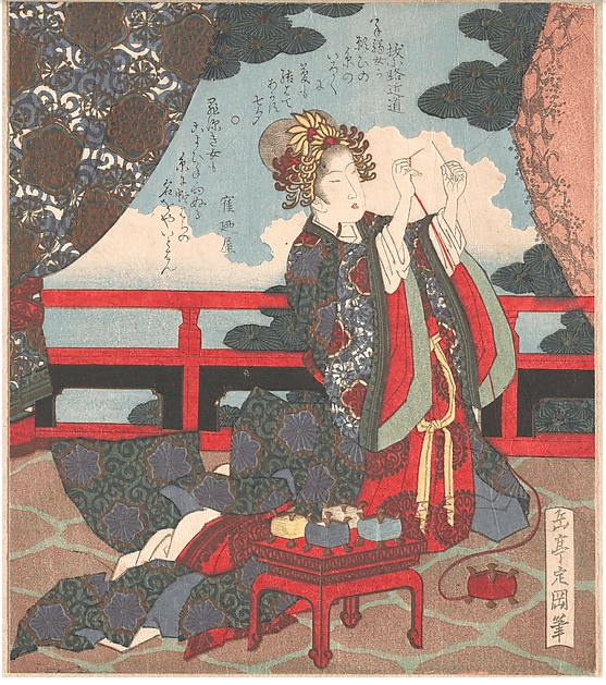 Yashima Gakutei, Lady Threading a Needle