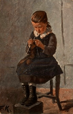Friedrich Kallmorgen, Girl Knitting
