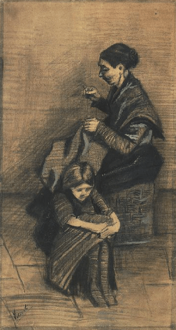 Van Gogh, Girl Embroidering