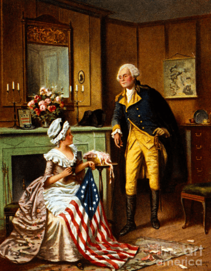 Betsy Ross and George Washington