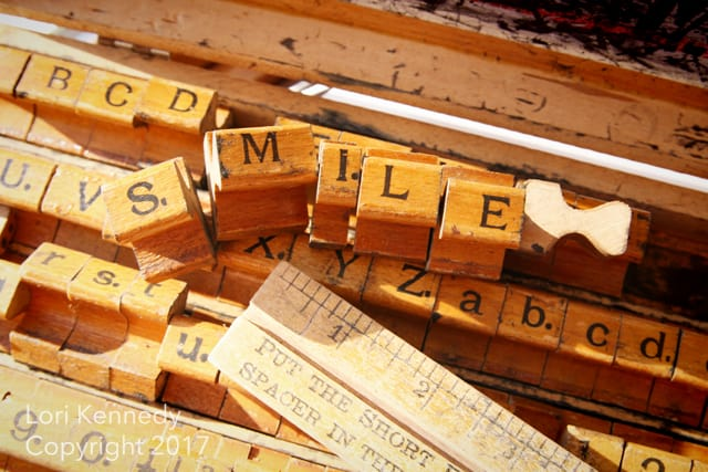 Smile, vintage printing blocks, Lori Kennedy