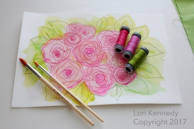 Watercolor Quilting, Roses