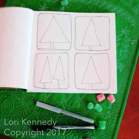 Tree Quilt motif, How to doodle a Christmas Tree