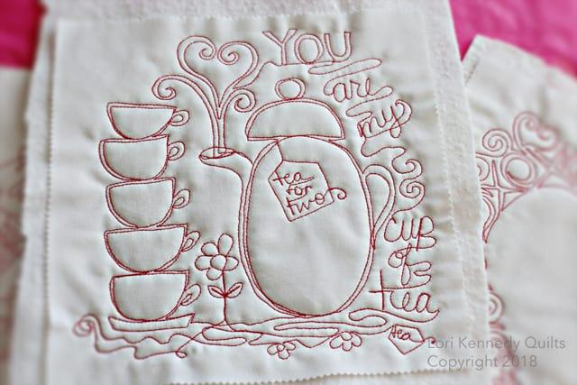 Teacup, Teapot, Machine Quilting, Lori Kennedy