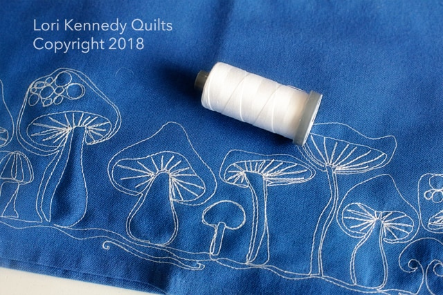 Machine Embroidered Mushroom Towel, Lori Kennedy