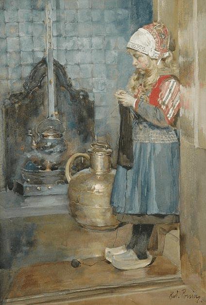 Rudolf Possin, Girl Knitting