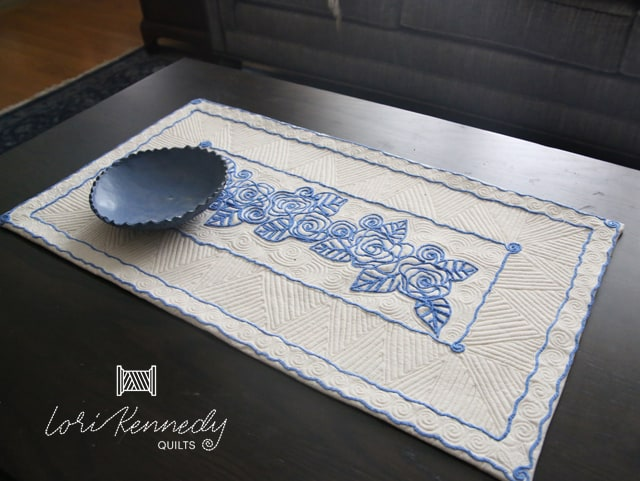 Blue Roses in Free Motion Couching Table runner