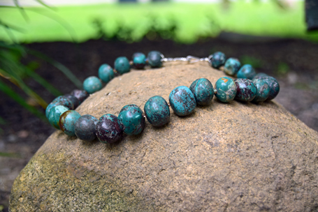 """Chinese Turquoise with Swarovski Crystals 17"""" - $350"""