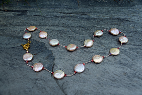 "Peach Coin Pearl and Swarovski Crystal on Silk with Vermeil Clasp 16"" - $95"