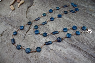 """Apatite, Swarovski Crystal on Silk with Sterling Silver Clasp 33"""" - $185 Also available 16"""" - $95"""