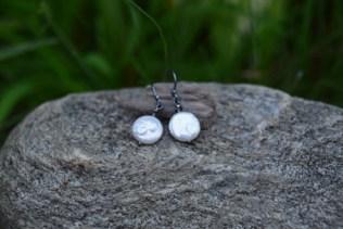 White Coin Pearl, Swarovski Crystal on Oxidized Silver - $25