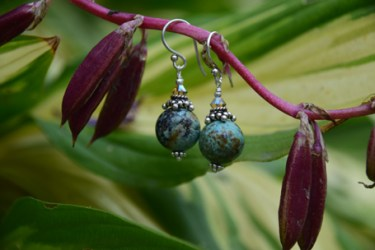 African Turquoise, Swarovski Crystal on Sterling Silver - $45
